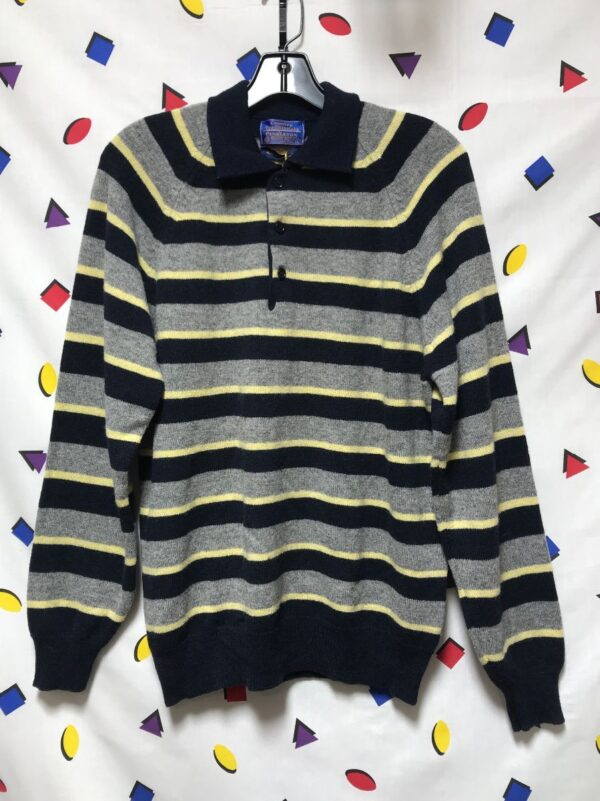product details: DEADSTOCK PENDLETON NOS W TAGS STRIPED WOOL CREWNECK THREE BUTTON SWEATER photo