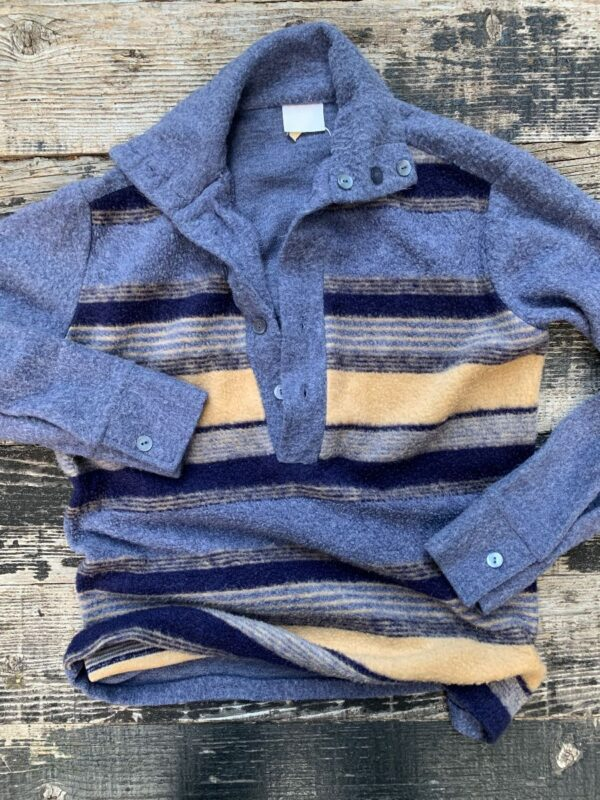 product details: RETRO STRIPED FRONT KNIT HENLEY SWEATER W/ IRIDESCENT BUTTONS photo