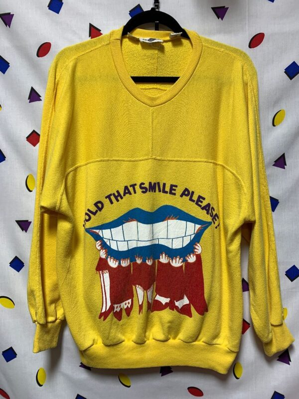product details: HOLD THAT SMILE LARGE MOUTH GRAPHIC CREWNECK SWEATSHIRT photo