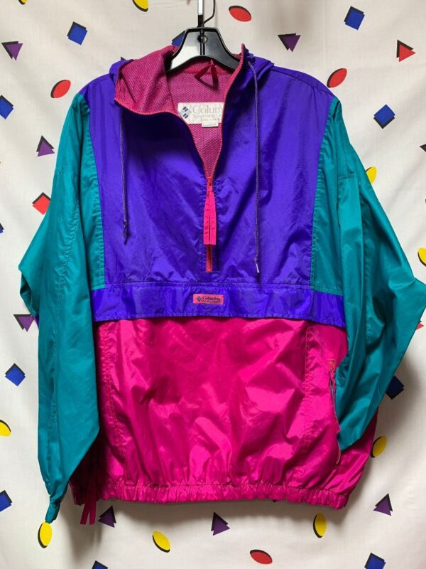 product details: COLORBLOCK NYLON PULLOVER HALF ZIP ZIPPER POCKETS WINDBREAKER HOODIE photo
