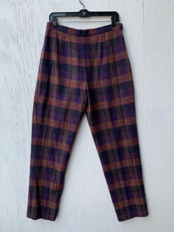 product details: DEADSTOCK PANTS PLAID WOOL HIGH WAISTED SIDE CLOSURE SATIN LINING MADE IN USA NWT NOS photo
