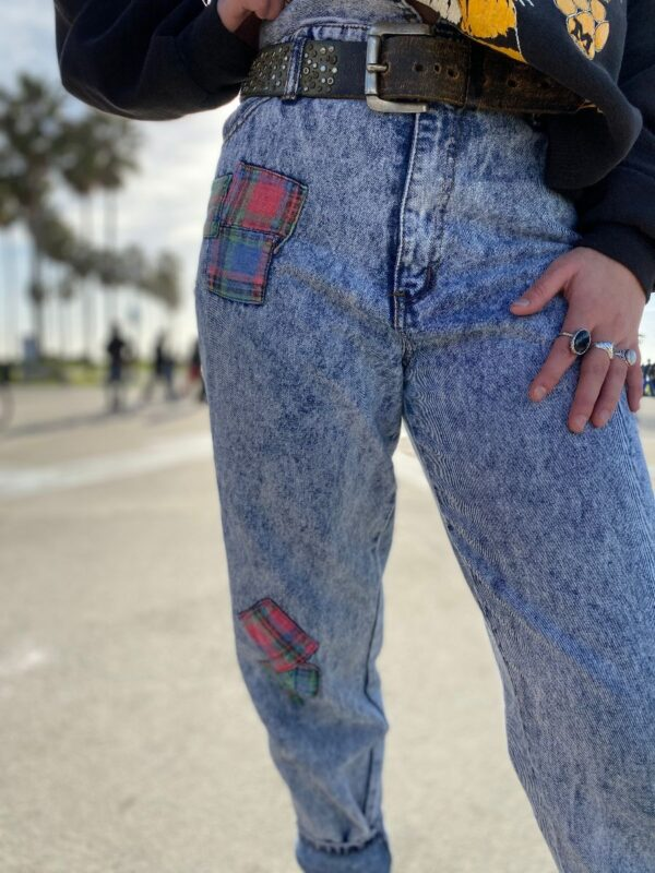 product details: AMAZING EARLY 90S HIGH WAISTED PAPER BAG WAIST JEANS ACID WASH DENIM PLAID PATCHWORK POLY COTTON BLEND photo