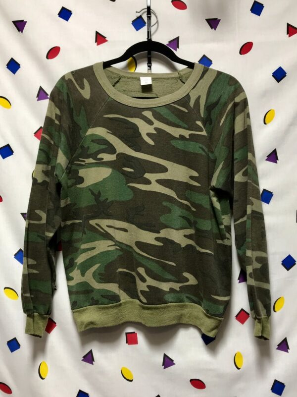 product details: THIN CAMO CREWNECK PULLOVER SWEATSHIRT SMALLER FIT MADE IN AMERICA photo