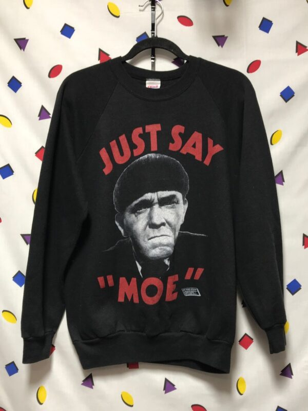 product details: RAD THE THREE STOOGES - JUST SAY MOE CREWNECK SWEATSHIRT photo