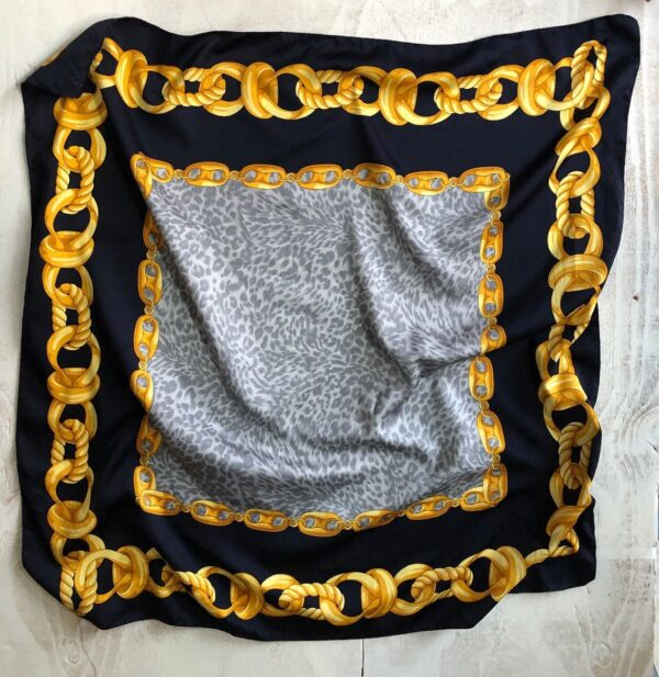 product details: SILKY SCARF LARGE CHAIN PRINT W/ ANIMAL PRINT CENTER photo