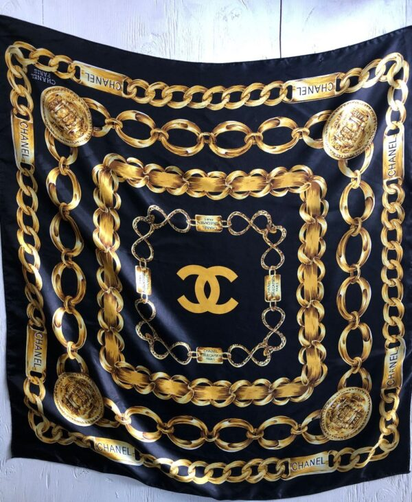 product details: FUN SILKY SCARF CHANEL PARIS MULTI CHAIN LINK PRINT photo