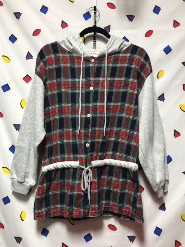 product details: LONG CUT HOODED FLANNEL JACKET CINCHED WAIST photo