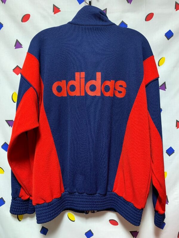 product details: RAD RETRO 1990S COLOR BLOCK ADIDAS TRACK JACKET SPELL OUT LETTERS ON BACK photo
