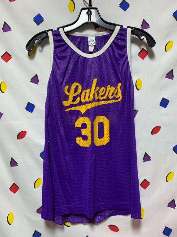 product details: RETRO MESH LAKERS JERSEY PRACTICE JERSEY #30 SUPER SMALL FIT photo
