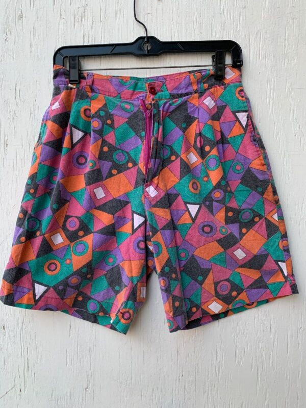 product details: RAD 1990S FUNKY GEOMETRIC SHAPE PRINT HIGH WAISTED SHORTS photo