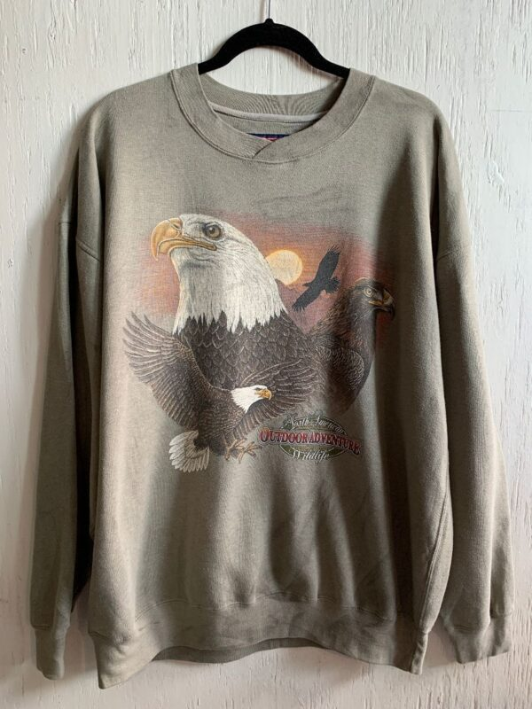 product details: NORTH AMERICAN WILDLIFE OUTDOOR ADVENTURE MULTI EAGLE PRINT CREW NECK SWEATSHIRT - AS IS photo