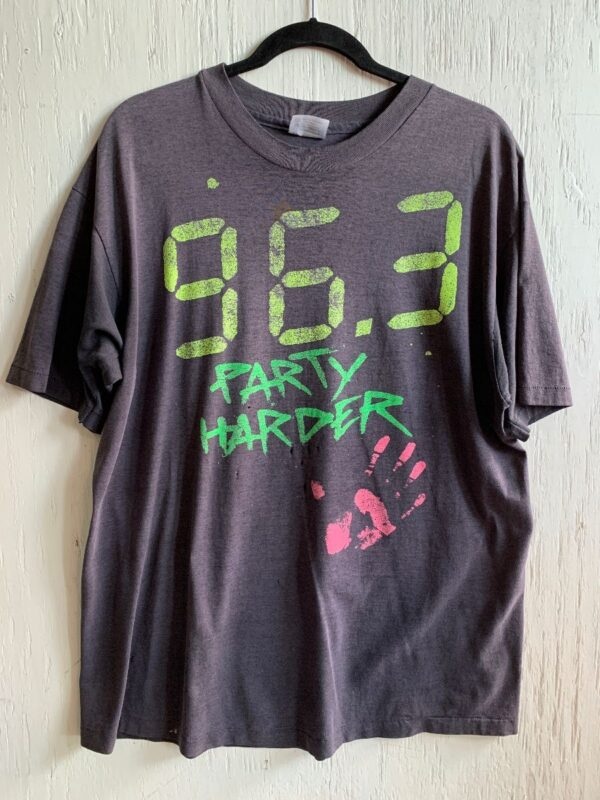 product details: DISTRESSED 96.3 PARTY HARDER HAND PRINT GRAPHIC T-SHIRT - AS IS photo