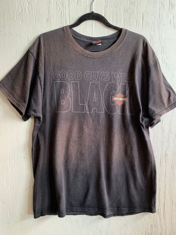 product details: HARLEY DAVIDSON \GOOD GUYS WEAR BLACK\ STORMY HILL CLERMONT, FLORIDA GRAPHIC T-SHIRT photo