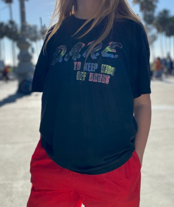 product details: RAD D.A.R.E. TO KEEP KIDS OFF DRUGS FADED NEON GRAPHIC T-SHIRT - AS IS photo