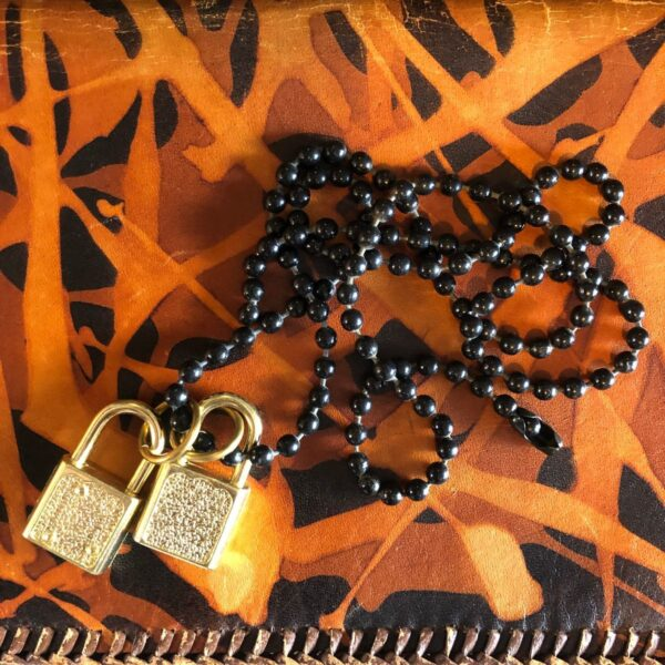 product details: GOLDEN DOUBLE PADLOCK BEADED CHAIN NECKLACE photo