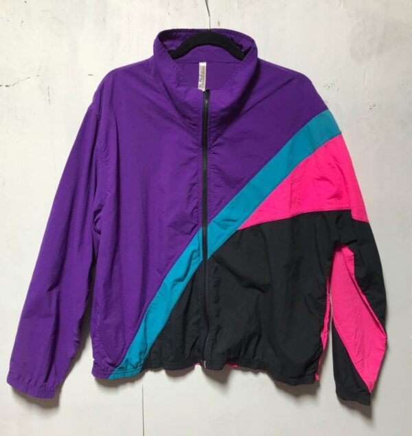 product details: 1980S DIAGONAL COLOR BLOCK WINDBREAKER ZIP-UP JACKET MOCK NECK MADE IN USA AS-IS photo
