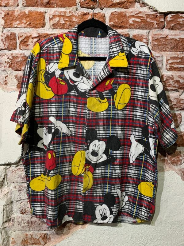 product details: VINTAGE REPURPOSED SHORT SLEEVE BUTTON UP SHIRT ALLOVER MICKEY MOUSE PLAID PRINT MADE IN LA photo