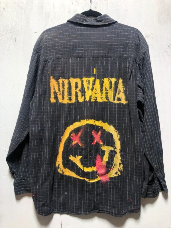 product details: SUPER SOFT COTTON LS BD SHIRT W HAND SCREENED NIRVANA BACK GRAPHIC photo