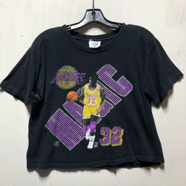 product details: SUPER RAD MAGIC JOHNSON NBA LOS ANGELES LAKERS CROPPED T SHIRT SINGLE STITCH photo