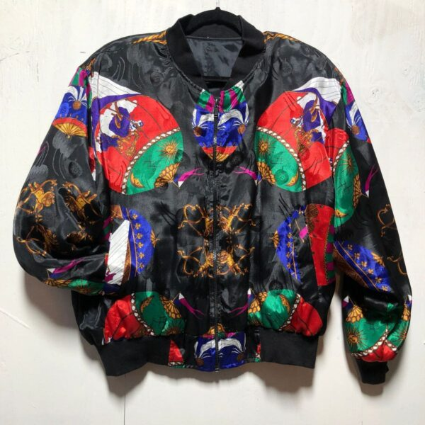 product details: REVERSIBLE BAROQUE ORNATE HOT AIR BALLOON PRINT ZIP UP SILKY BOMBER JACKET photo