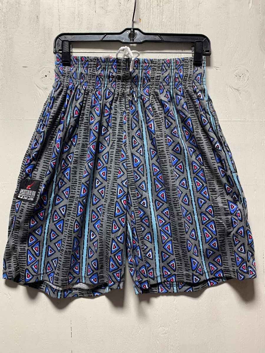 DEADSTOCK GEOMETRIC PRINTED 20S COTTON SHORTS W/ POCKETS ...