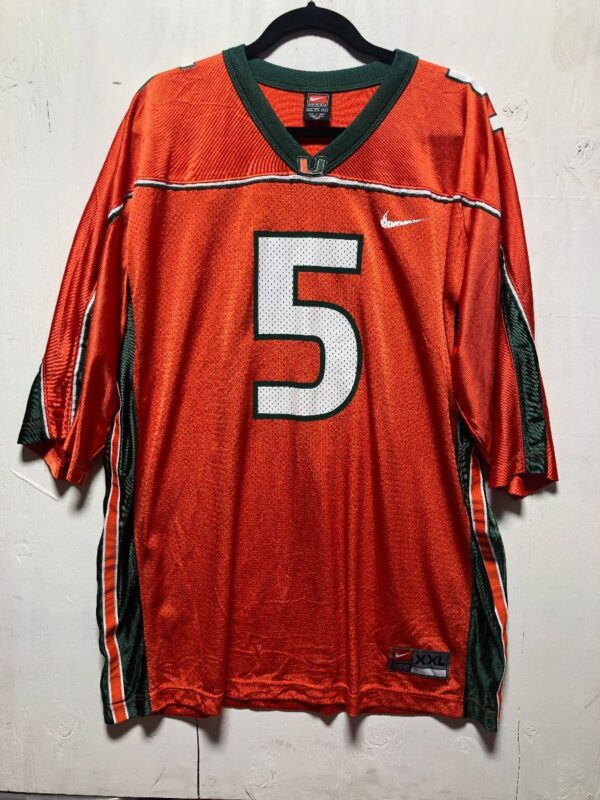 product details: NCAA UNIVERSITY OF MIAMI HURRICANES FOOTBALL JERSEY #5 photo