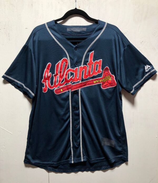 product details: MLB ATLANTA BRAVES BUTTON UP BASEBALL JERSEY STITCHED LETTERING #13 ACUNA JR. AS-IS photo