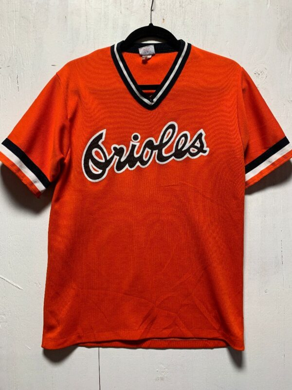 product details: RETRO MLB BALTIMORE ORIOLES PULLOVER PRACTICE BASEBALL JERSEY AS-IS photo