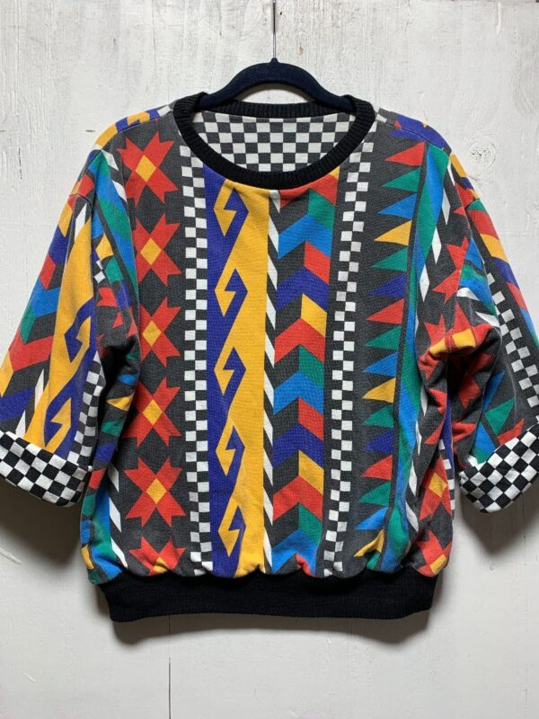 product details: RADICAL 1980S-90S REVERSIBLE ABSTRACT CHECKER PRINT CREWNECK PUFFY SWEATSHIRT photo
