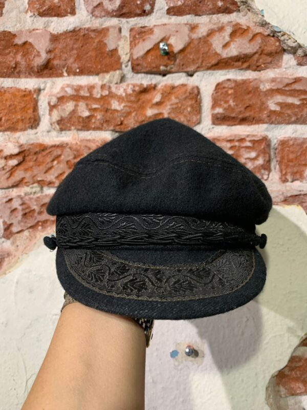 product details: 3-44 WOOL EMBROIDERED GREEK FISHERMAN\\S CAP W/ BRAIDED SATIN STRAP photo