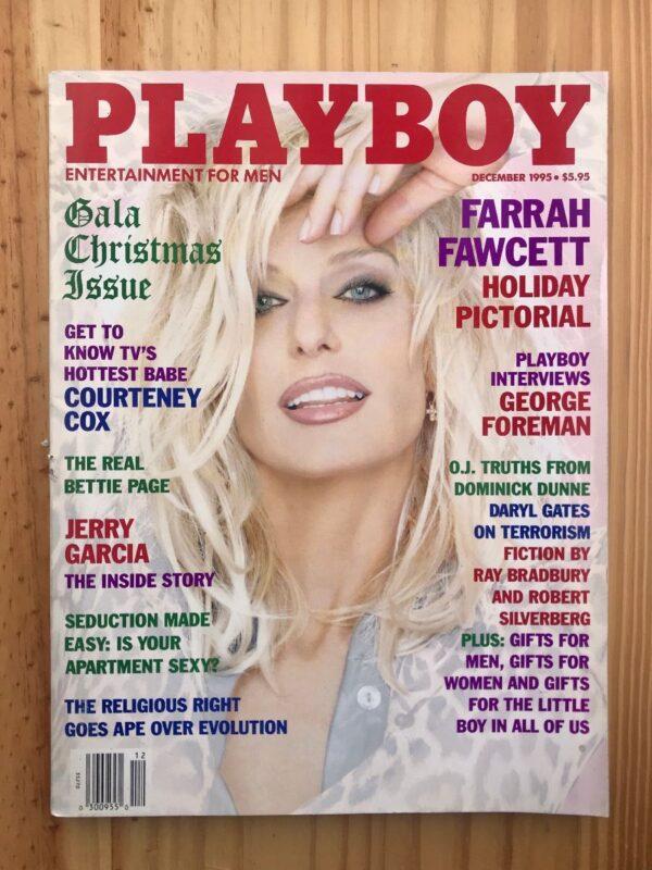 product details: PLAYBOY MAGAZINE | DEC 1995 FARRAH FAWCETT | GEORGE FOREMAN | COURTNEY COX  | JERRY GARCIA | BETTIE PAGE photo