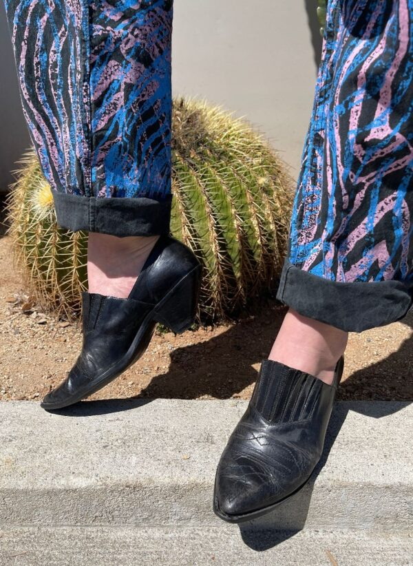 product details: SLIP-ON WESTERN EMBROIDERED POINTED TOE ANKLE BOOTS W/ PANELED ELASTIC TOP photo