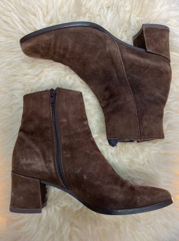 product details: FULLY SUEDE SQUARE TOE ZIP-UP ANKLE BOOTS photo