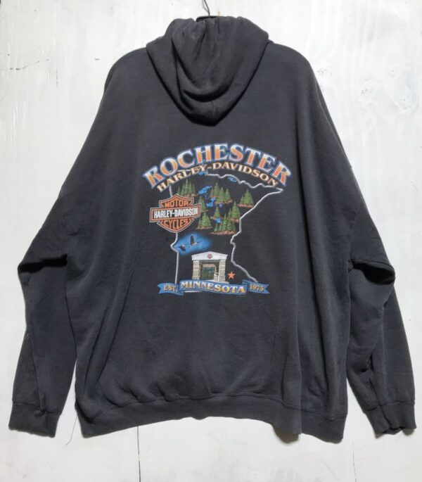 product details: HARLEY DAVIDSON ROCHESTER, MINNESOTA EAGLE-FLAME GRAPHIC HOODIE JACKET AS-IS photo