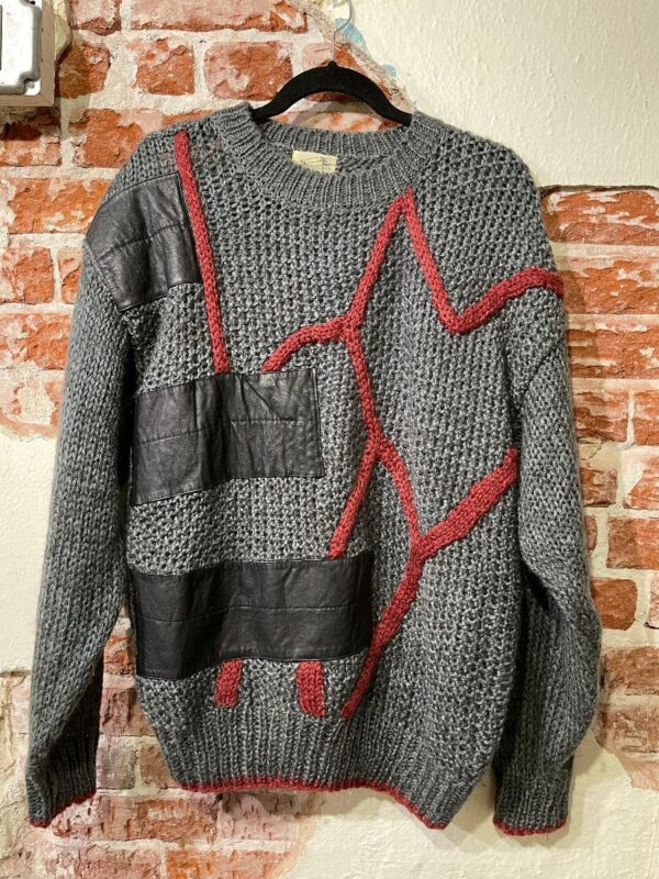 product details: KNIT LEATHER ABSTRACT STRIPED & PATCHWORK DESIGN OVERSIZED SWEATER photo