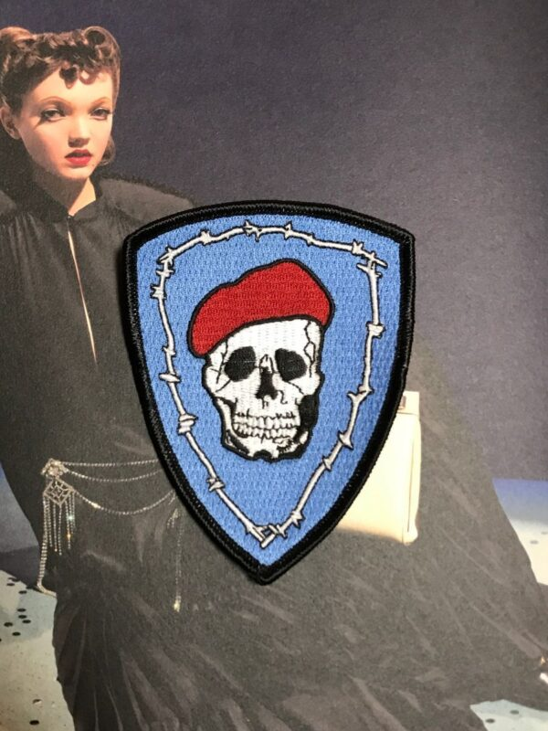 product details: RED BERET SKULL PATCH LARGE photo