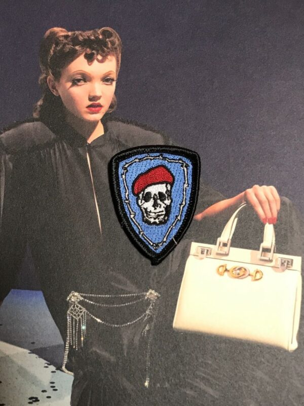 product details: RED BERET SKULL PATCH SMALL photo