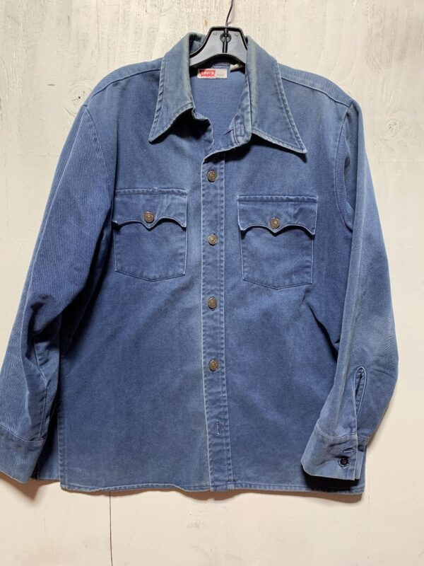 product details: 1970S BEAUTIFUL BRUSHED TWILL LEVIS DENIM WORK SHIRT, LIGHT JACKET WITH FRONT POCKETS photo
