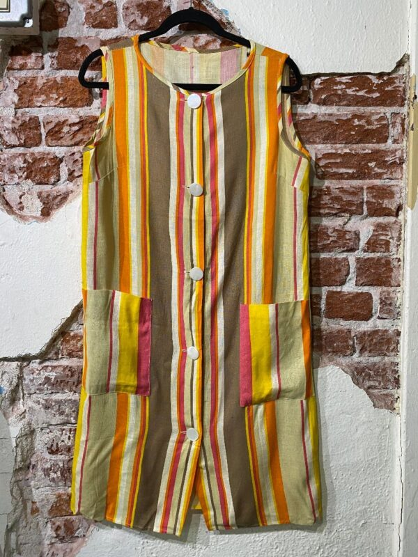 product details: ADORABLE 1960S LARGE BUTTON DOWN SLEEVELESS VERTICAL STRIPE WITH FRONT POCKETS AS-IS photo