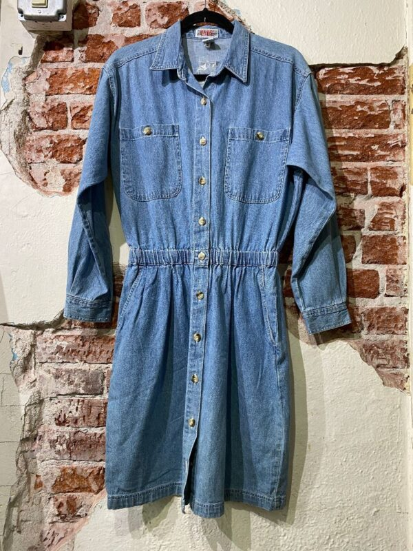 product details: 1980S-90S LS DENIM MID LENGTH DRESS WITH STRETCH WAIST AS-IS photo