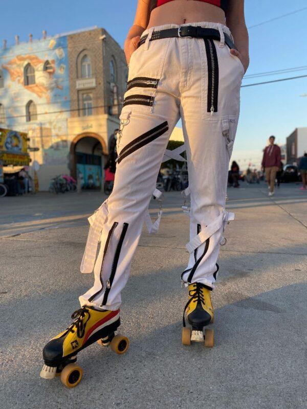 product details: Y2K ALLOVER ZIPPER BONDAGE PANTS DETACHABLE BUTT-FLAP AS-IS photo