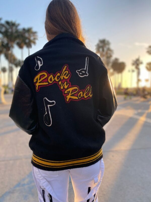 product details: AMAZING VINTAGE ROCK ROLL CHENILLE PATCH JACKET VARSITY STYLE JACKET AS-IS photo