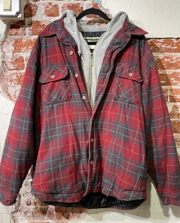 product details: PLAID FLANNEL LAYERED HOODED ZIP-UP SWEATER W/ QUILTED LINING photo