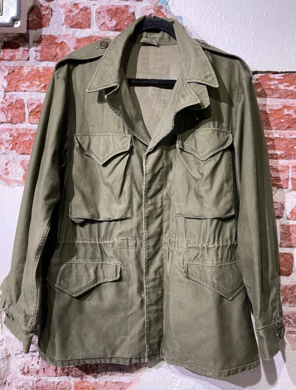 product details: VINTAGE SOLID BUTTON DOWN MILITARY FIELD JACKET W/ CINCHED WAIST - AS IS photo