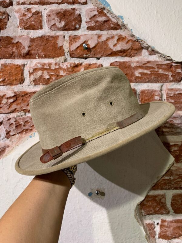 product details: SUEDE PANAMA HAT W/ BROWN LEATHER STRAP - AS IS photo