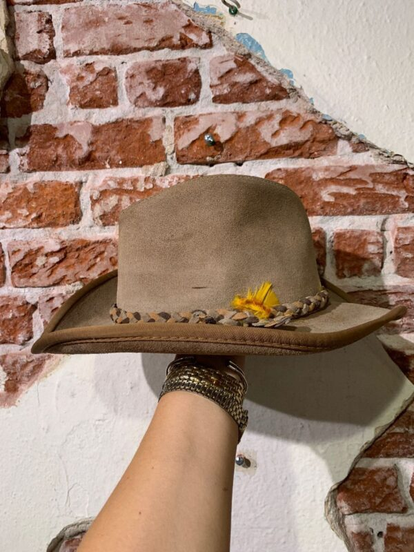 product details: SUEDE BOUND EDGE WESTERN HAT WITH BRAIDED SUEDE STRAP & FEATHER photo
