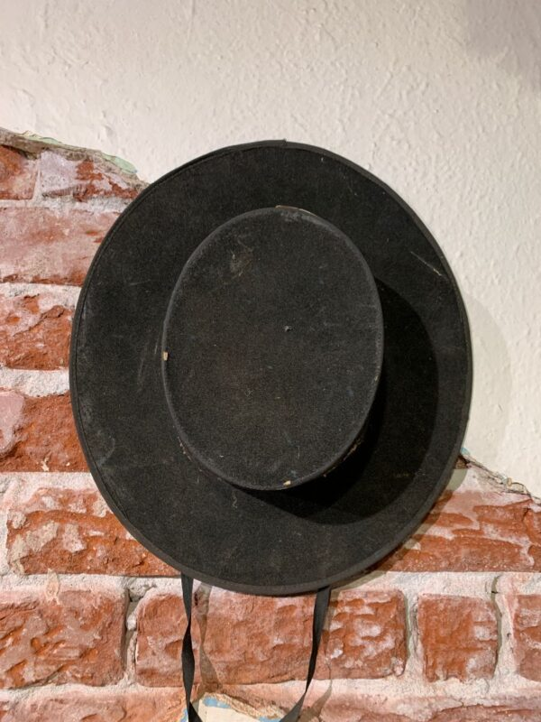 product details: HEAVILY DISTRESSED SOLID VELOUR STRIGHT BRI SOMBRERO HAT W/ SATIN STRAPS - AS IS photo