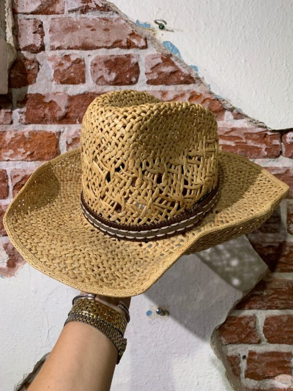product details: STRUCTURED TALL STRAW COWBOY HAT W/ EMBROIDERED & LEATHER HAT BAND photo