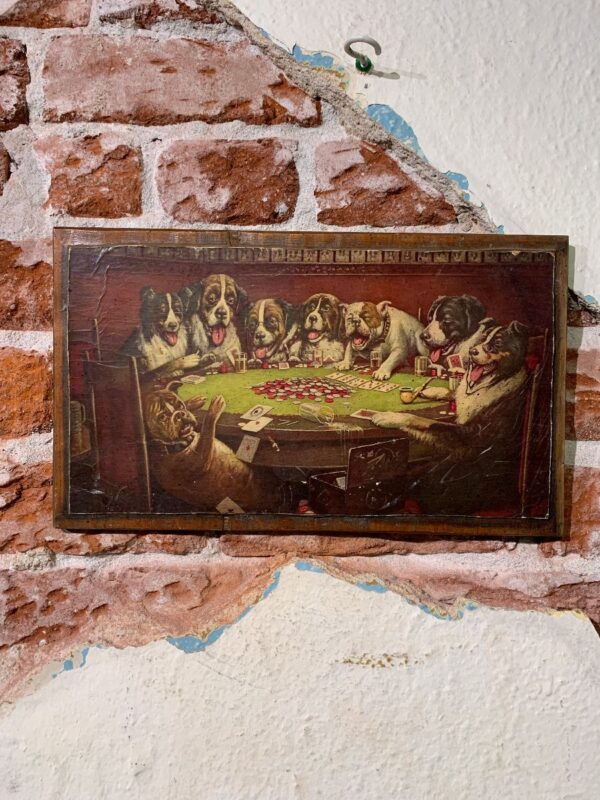 product details: WOOD MOUNTED DOGS PLAYING POKER ART PIECE photo
