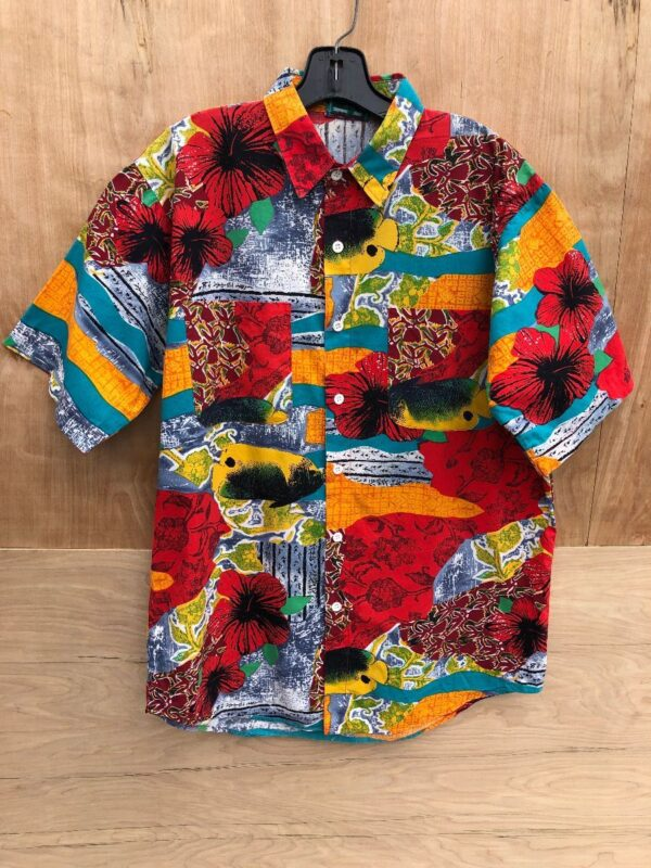 product details: FUN FUNKY COLORFUL FISH AND FLORAL ALL OVER PRINT HAWAIIAN SHIRT photo